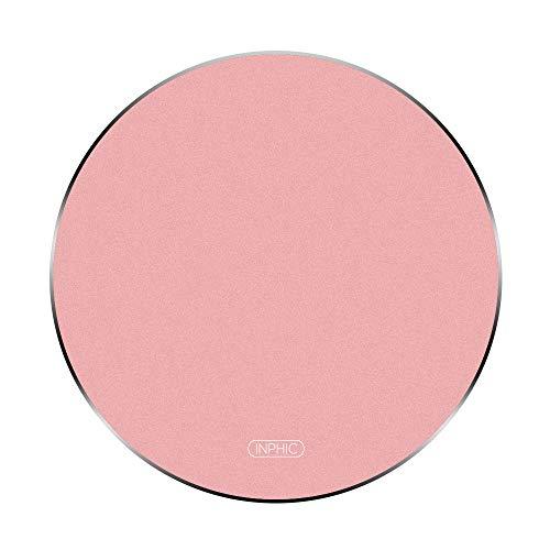 inphic Almohadilla para Mouse ratón inalámbrico P-M9 con Base de Goma Antideslizante, aleación de Aluminio, tamaño 7.87in, 4.3 oz, Redondo, Oro Rosa