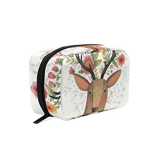 eißverschluss Cartoon Deer Flower Clutch Reise Aufbewahrungstasche Make-up Tasche Tasche Organizer Fall für Frauen ()