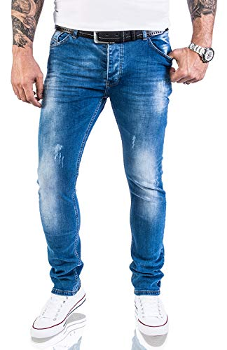 Rock Creek Designer Herren Jeans Hose Stretch Jeanshose Basic Slim Fit [RC-2132 - Blue Washed - W30 L32] Blue Denim Capri-jeans