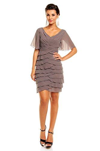 Chiffon Kleid im Stufen-Look mit kurzen Ärmeln, Cocktailkleid Abendkleid kurz Dunkelgrau