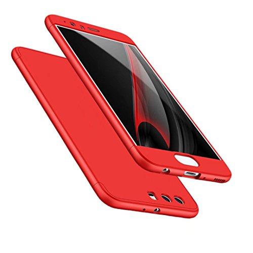 Cover HUAWEI P10 Plus 360 ° Custodia protettiva ultra sottile Custodia PC Protezione corpo Protezione antigraffio 360 ° Copertura completa 3 in 1.Rosso