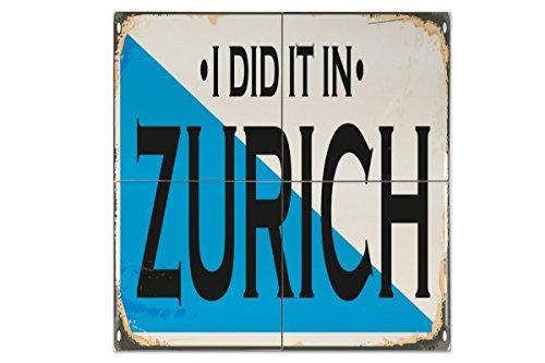 Fliese Kachel Retro Metropole Zürich Schweiz Keramik bedruckt 15x15 cm