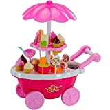 Krireen Ice Cream Play Cart Kitchen Set Toy with Lights and Music, (39 Piece, Pink)