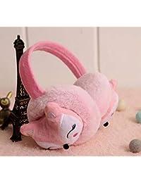 Orejeras calientes de felpa cálidas para invierno y al aire libre, para niños, de Fox 12 cm rosa