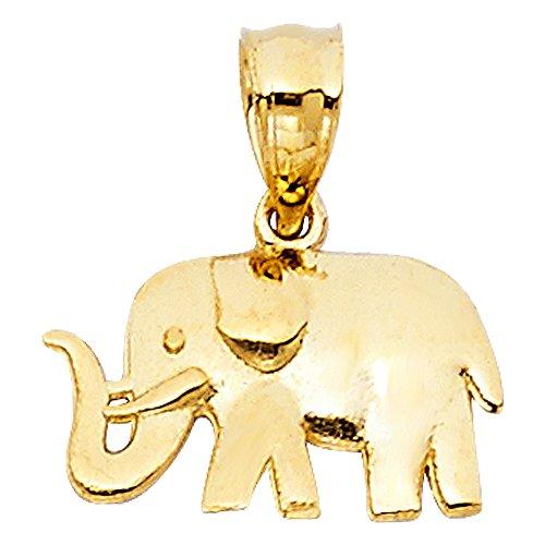 Paradise Jewelers sólido amarillo colgante elefante de oro de las mujeres