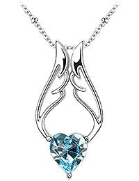 Le Premium® Engels Flügel Herz Anhänger Halskette herzförmigen Swarovski Aquamarine Blau kristalle
