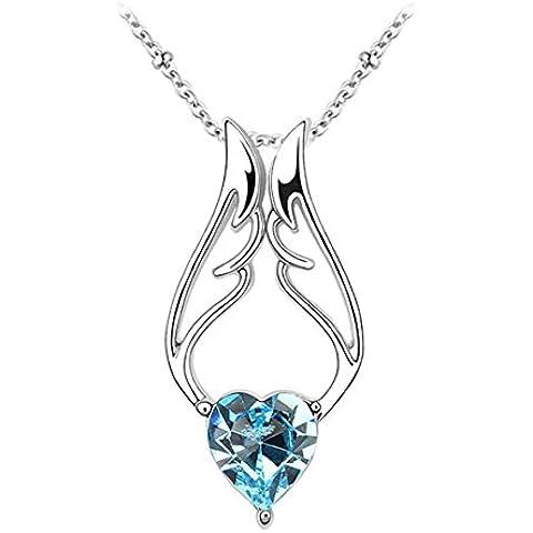 Le Premium® - angelo ala cuore Collana pendente di cristallo Cuore a forma di SWAROVSKI acquamarina Blu cristallo