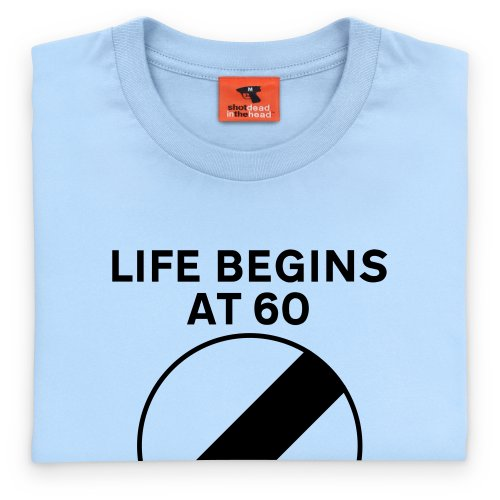 PistonHeads Life Begins at Sixty T-Shirt, Herren Himmelblau