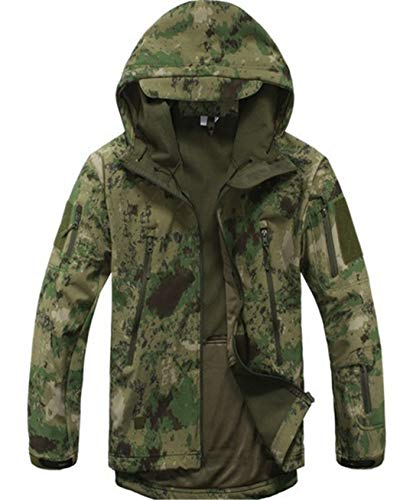 Outdoor Sports Männer Upgraded Soft Shell Tactical Military Wasserdichte Camouflage Fleece Futter Mantel Jacken Camo Green XXL Burton Soft Shell