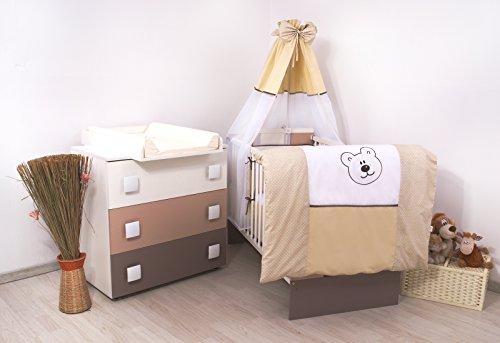 15Tlg. Kinderzimmer - Wickelkommode, Babybett, voll Ausstattung (Teddybär)