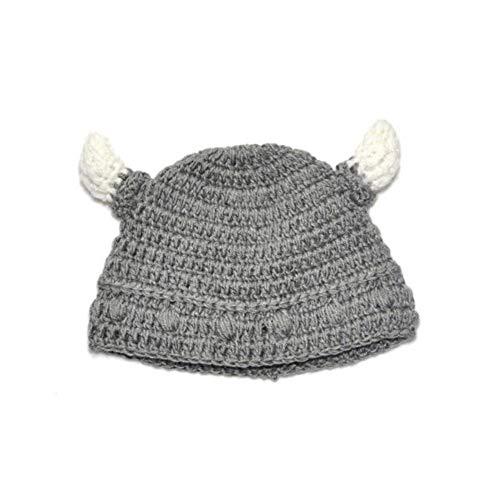 Deanyi Baby Bull Horn Mütze Handmade Knitting Viking Hut Rind Horn Kappe für Jungen Mädchen Grau - Viking Mädchen Kostüm