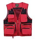 DAFREW Gilet Casual Multi-Tasca Maglia ad Asciugatura Rapida Maglia Traspirante Gilet da Pesca per Il Tempo Libero Pesca all'aperto (Colore : Rosso, Dimensioni : M)