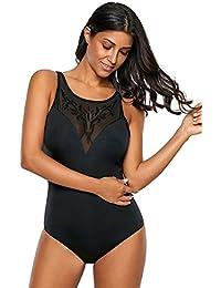 Fasnoya Women's Black Embroidered Detail Mesh Bust Teddy Swimsuit - bik510