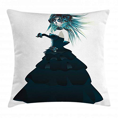 ow Pillow Cushion Cover, Sugar Skull Girl with Prom Dress Roses in Hand Gothic Halloween Lady Zombie Vampire, Decorative Square Accent Pillow Case, 24 X 24 Inches, White Teal ()