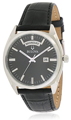Bulova Dress 96C128(2) Mens Leather Band Black Quartz Dial Watches