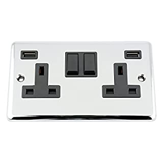 USB Socket 2 Gang - Polished Chrome - Classic - Black Insert Plastic Rocker Switch - 13A Double Wall Plug USB Socket 3.1
