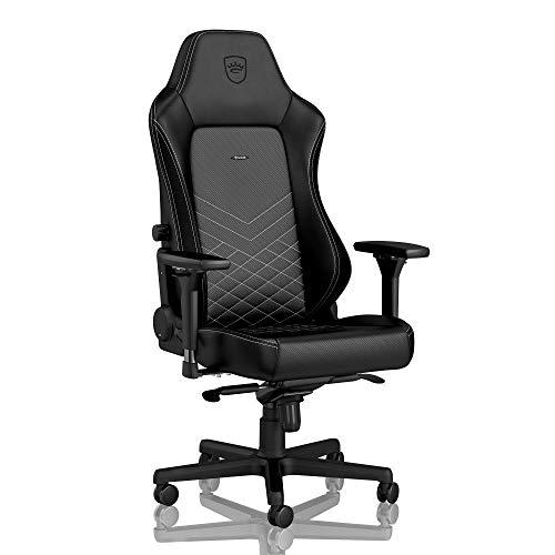 noblechairs Hero Gamingstuhl - Bürostuhl - Schreibtischstuhl - PU-Kunstleder - Schwarz/Platinweiß (Executive Stuhl Kissen)