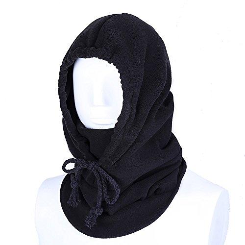 Unisex Passamontagna Sottocasco Termico In Pile Maschera di Protezione Piena Antivento Cappello per Attività All'aperto-Nero