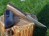 Maximtac fatto a mano, Coltello da caccia con manico in legno lama fissa, massiccio, Noce + in pelle fondina, fodero in pelle bovina
