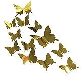 3D Fai da Te Farfalla Specchio Stickers - Acrilico Tatuaggi Rimovibili Adesivi murali Adesivi murali Decor per L'Arte/Parete/Home/Camera da Letto dei Bambini, 12 pc Oro