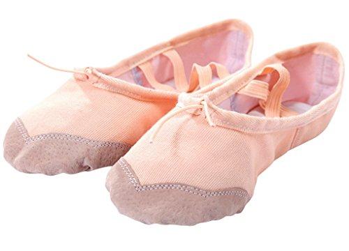 Happy Cherry – Demi-pointes en Toile bi-semelle en Cuir – Danse classique – Chaussures de ballet Ballerie – Rose/Rouge – Taille 25-36