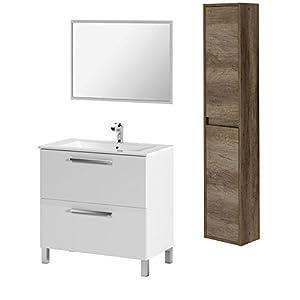 HABITMOBEL – Mueble Baño 1 Puerta Abatible con cajón + Lavabo Ceramica + Espejo+ Columna suspendida