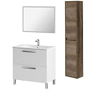 41e 8mRqvDL. SS324  - HABITMOBEL - Mueble Baño 1 Puerta Abatible con cajón + Lavabo Ceramica + Espejo+ Columna suspendida