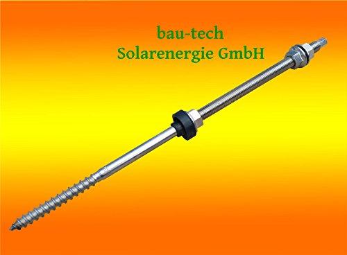 10 Stück Stockschraube Edelstahl A2, M10 x 300 mit Sechskant - Kopf Antrieb von bau-tech Solarenergie GmbH