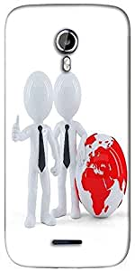Snoogg business people standing in front of the globe business concept Designer Protective Back Case Cover For Micromax A117