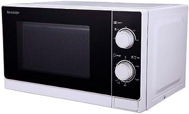 Sharp R-200WW Mikrowelle / 20 L / / Weiß / / 800 W / Mechanische Bedienung / Grau lackierter Innenraum zur einfachen Reinigung / Auftau-Hilfe