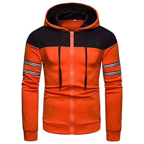 Setsail Herren Neuer Herrentel Langarm Kapuzenbluse Patchwork ZipperStriped Hoodie Shirt Top -