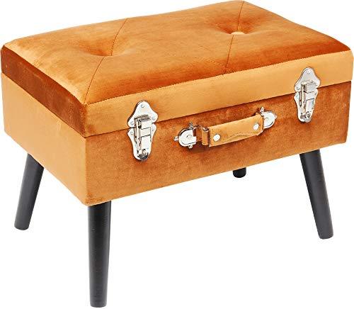 Kare Design Fußhocker Suitcase Orange, zierlicher Fußhocker mit Stauraum in Form eines Koffers, Sitzhocker mit Ablage und Stauraum, Designer Hocker, Polsterhocker (B/H/T) 61x53x38cm