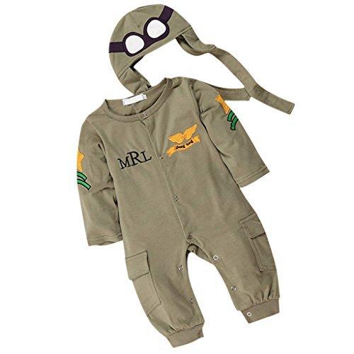 oddler Baby Jungen PILOT Jumpsuits Kostüm Lange Ärmel Grün–80 (Kleinkind Junge Pilot Kostüm)