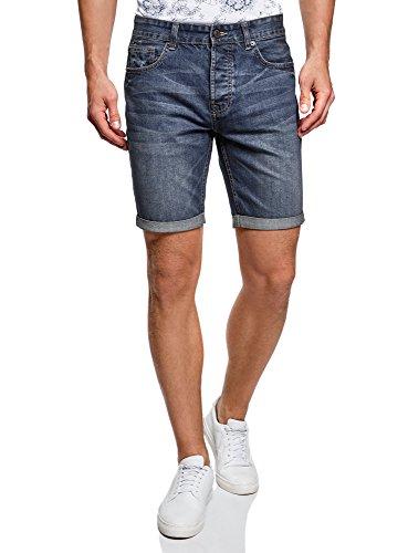 oodji Ultra Herren Jeansshorts Basic, Blau, W28/DE 28/EU 28