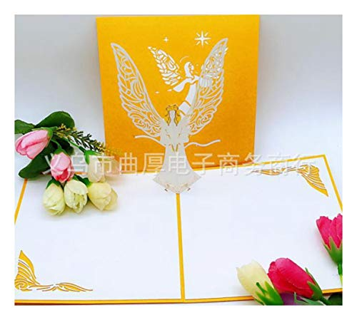 ZHOUBIN 2 fogli/set Carving and Hollowing Out 3D Cards/Greeting Cards/Regali di Natale Capodanno/Auguri di compleanno/Angeli