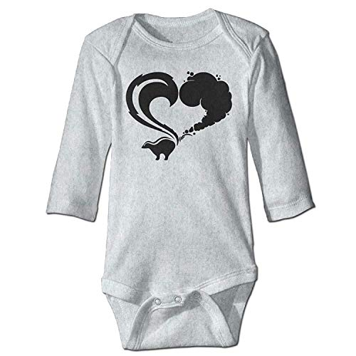 MSGDF Unisex Newborn Bodysuits Skunk Logo Girls Babysuit Long Sleeve Jumpsuit Sunsuit Outfit Ash