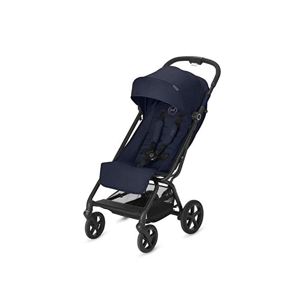 CYBEX Gold Eezy S+, Compact Pushchair, One-hand folding mechanism, Lightweight, From birth to 17 kg (about 4 years), Denim Blue Cybex Sturdy, High-quality Compact Pushchair for newborns up to approx. 17 kg (approx. 4 years) with one-hand folding mechanism and infinitely adjustable backrest - Including raincover for optimum use in all weather conditions Optimum comfort for parent and child: Light and easy to manoeuvre around the city thanks to large all-terrain wheels with all-wheel suspension, Comfortable sitting position thanks to infinitely adjustable backrest with lie-flat position Simple one-hand folding mechanism for travel-friendly size - LxWxH: 29 x 45 x 59 cm, 2-in-1 travel system compatibility with separately available CYBEX and gb baby car seats 1