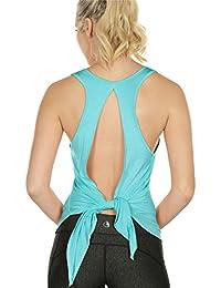 29d3eb9a31 icyzone Damen Sexy Yoga Tops Sport Oberteil Rückenfrei Workout Fitness Shirt  Ärmellos