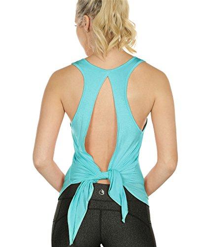 icyzone Damen Tank Tops Casual Kurzarm Rückenfrei Shirts für Yoga Workout (L, Pool Blue)