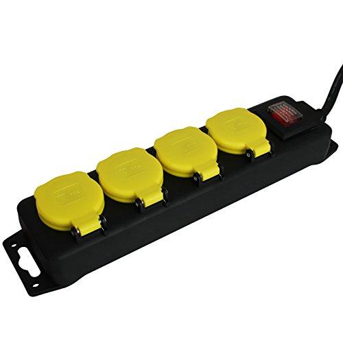 Steckdosenleiste Outdoor mit Größenauswahl - Mehrfachsteckdose - Verteilersteckdose (4er)