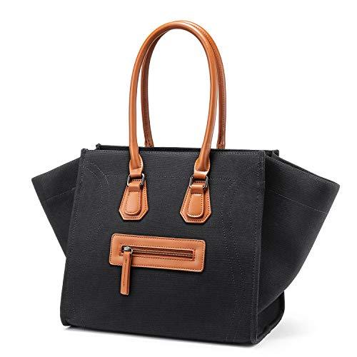 LOVEVOOK Handtaschen für Damen Umhängetaschen Handgepäck Lächeln Leinentasche für Frauen Große Kontrastfarbe Schwarz - Machen, Frauen Wie Lachen Zu Die
