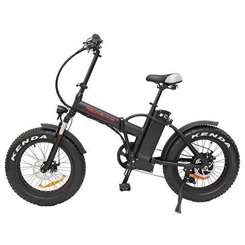 20 \'\' faltendes elektrisches Mountainbike, 48V12.5AH 500W E-Bike-Fahrrad mit 6-Gang-Shimano-Übertragungssystem, 4,0 Fetter Reifen Ebike für Erwachsene Frau/Mann,Schwarz
