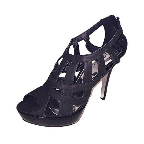 Mesdames pearlised bout ouvert lanières des chaussures à talons / sandales Noir