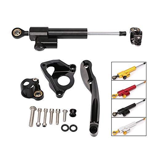 QQJK Für Honda CBR600RR, Lenkungsdämpfer-Steuerhalterungs-Montagesatz für Motorräder, CNC-Aluminiumlegierung Stabilizerlinear Reversed Safety,Black