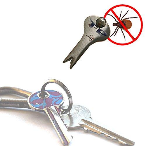 TickPick Zeckenentferner Schlüsselanhänger | Edelstahl | Effektives Entfernen von Zecken von Menschen und Haustieren