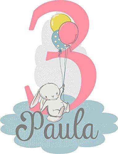 wolga-kreativ Bügelbild 1 2 3 4 5 6 Geburtstag Hase mit Luftballon Name Zahl Applikation zum selbst Aufbügeln A5 (Mit Namen Geburtstags-luftballons Sie Auf)