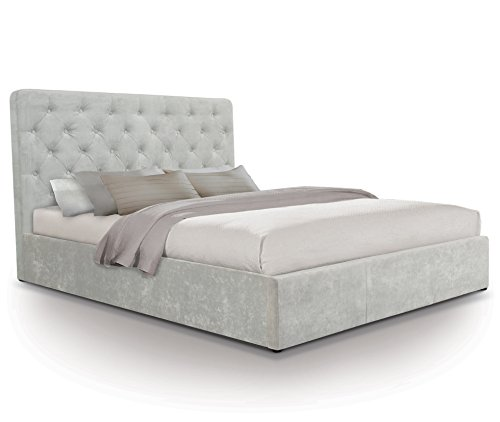 Otto-Garrison Opulent Tall Contemporary Tufted/Buttoned Fabric Storage Ottoman Bed, King Size, Light Grey with Fabric