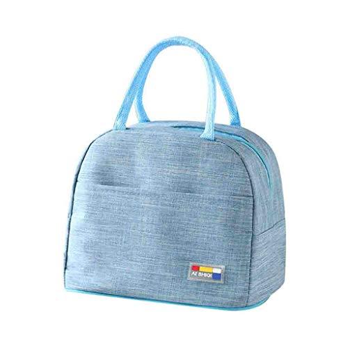KonJin 25 x 20 x 15cm Klein Leicht Lunch Tasche Isoliertasche zur Arbeit Schule Faltbar Wasserdicht Reißverschluss Einfarbig Multiple-Choice
