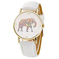 Bluester Watch,New Women Elephant Printing Pattern Weaved Leather Quartz Dial Watch (White)