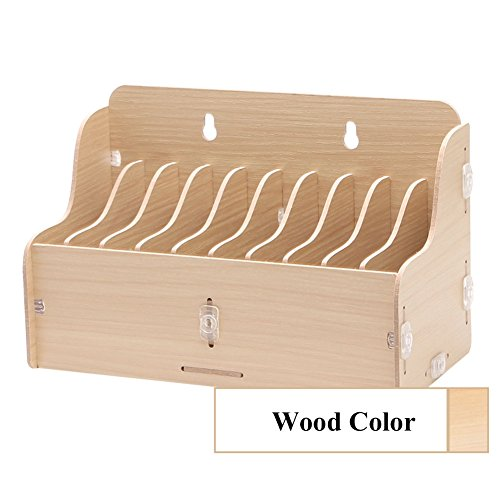 10 Pocket Wand (exttlliy Wand montiert & Tischplatte Holz 10Staufächer Handys Halter Aufbewahrungsbox Organizer Wood color.)
